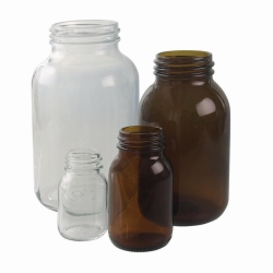 Wide-mouth bottles, soda-lime glass