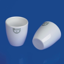 Gooch crucibles with perforated base, porcelain, wide shape