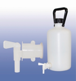 LLG-Aspirator Bottles, narrow neck, PE-HD, with stopcock