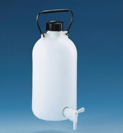 Aspirator bottles, HDPE, with stopcock, PP