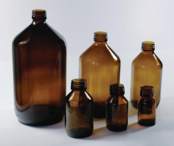 Narrow-mouth Winchester bottles, soda-lime glass