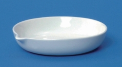 LLG-Porcelain evaporating dishes with spout, flat bottom, shallow form