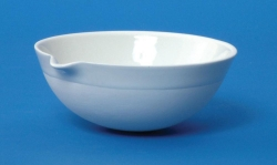 LLG-Porcelain evaporating dishes with spout, round bottom, medium form
