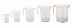 Measuring jugs, open handle, stackable, PP