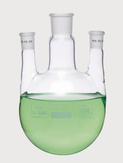 Round bottom flasks with three necks, NS joints, parallel arms, borosilicate glass 3.3